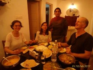 Guests having dinner after the cooking class at Nathan's Holiday Home, Fort Kochi